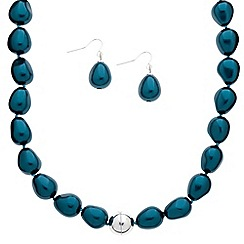 Betty Jackson.Black - Designer teal baroque style pearl jewellery set