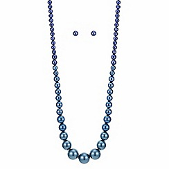 Betty Jackson.Black - Green and blue pearl necklace and earring set