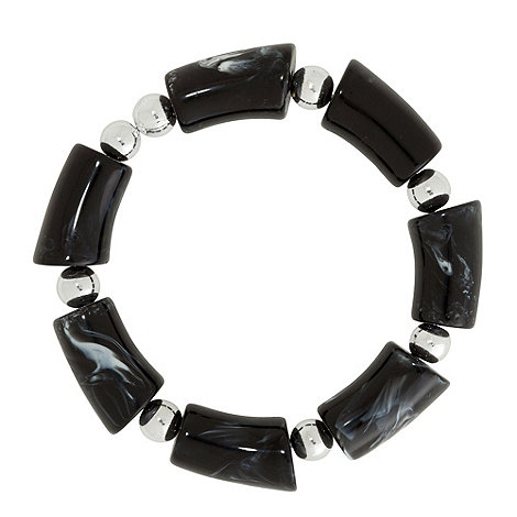 Betty Jackson.Black - Chunky marbleised dark grey pebble stretch bracelet