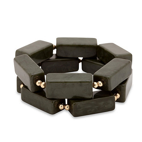 Betty Jackson.Black - Rectangular multi marble green resin bracelet