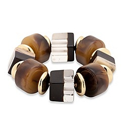 Betty Jackson.Black - Textured trapped cube and gold disc bracelet