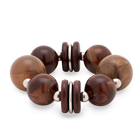 Betty Jackson.Black - Marbelised brown resin chunky ball and silver bead bracelet