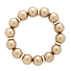 Betty Jackson.Black - Polished gold pearl and rondel stretch bracelet