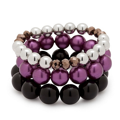 Betty Jackson.Black - Mixed purple seed bead triple row stretch bracelet