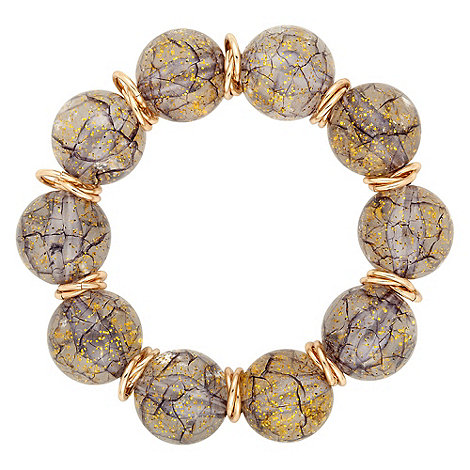 Betty Jackson.Black - Speckled bead and interlinked gold disc stretch bracelet