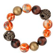 Orange animal print and gold tribal chunky bead bracelet