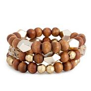 Tribal wood and retro bead stretch bracelet