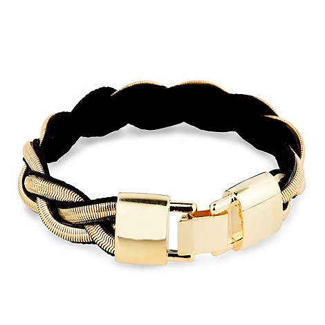 Betty Jackson.Black - Gold snake and fabric plait bracelet