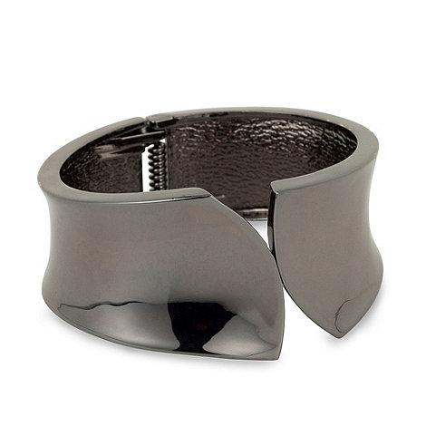 Betty Jackson.Black - Designer hematite hinged clamp bangle