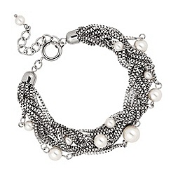 Betty Jackson.Black - Designer pearl and silver multi chain bracelet