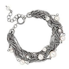 Betty Jackson.Black - Designer pearl and silver multi chain bracelet