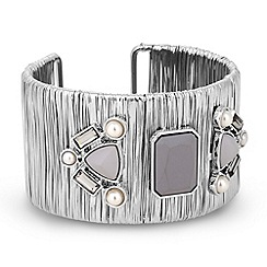 Betty Jackson.Black - Designer grey stone set wire cuff