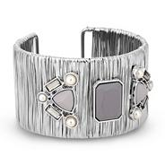 Designer grey stone set wire cuff