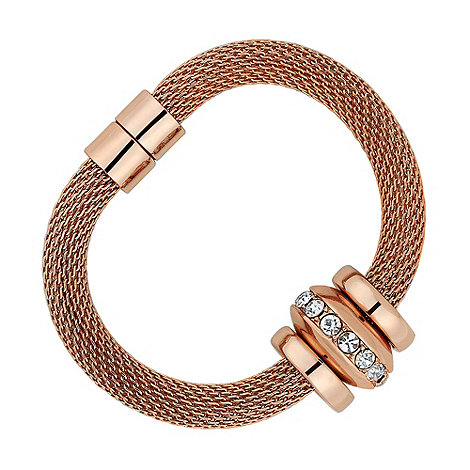 Betty Jackson.Black - Designer crystal ring set rose gold bracelet