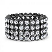 Designer crystal hematite stretch bracelet