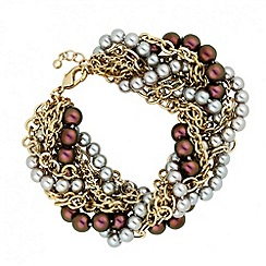 Betty Jackson.Black - Designer mixed pearl plaited chunky bracelet
