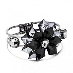 Betty Jackson.Black - Designer 3-d black flower statement bangle
