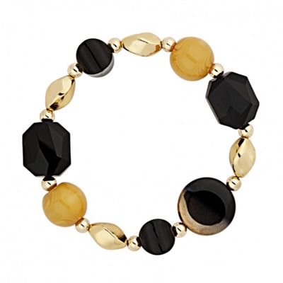Betty Jackson.Black Designer beaded stretch bracelet - . -