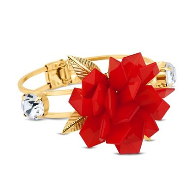 Betty Jackson.Black Designer 3-d red flower hinged bangle - . -