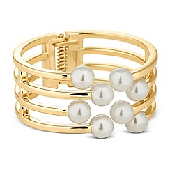 Betty Jackson.Black - Designer pearl and gold lattice effect bangle