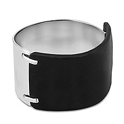 Betty Jackson.Black - Designer leatherette and metal cuff