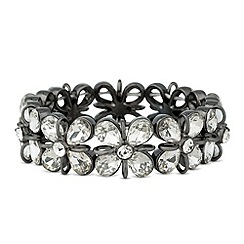 Betty Jackson.Black - Designer 3d crystal flower stretch bracelet