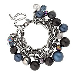 Betty Jackson.Black - Designer blue tonal pearl and bead chain bracelet