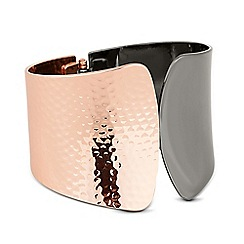 Betty Jackson.Black - Designer rose gold and hematite textured bangle