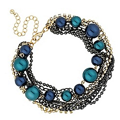 Betty Jackson.Black - Designer blue pearl and diamante multi row bracelet