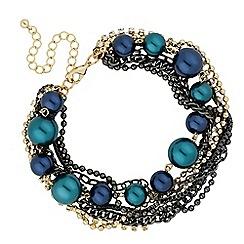 Betty Jackson.Black - Designer blue pearl and diamante multi row bracelet