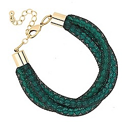 Betty Jackson.Black - Designer green bead twisted mesh bracelet