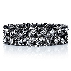 Betty Jackson.Black - Designer hematite crystal bar stretch bracelet