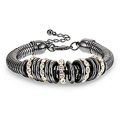 Betty Jackson.Black - Designer two tone crystal and polished disc bracelet