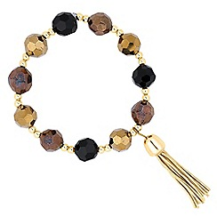 Betty Jackson.Black - Designer mixed bead tassel stretch bracelet