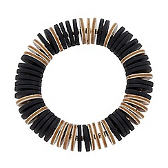 Betty Jackson.Black - Designer black and brown disc stretch bracelet