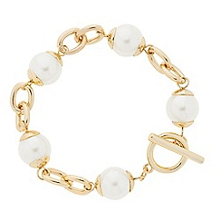 Betty Jackson.Black - Designer cream pearl and gold link bracelet