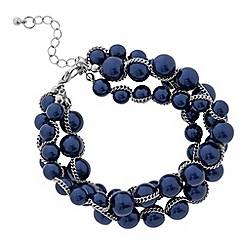 Betty Jackson.Black - Designer blue pearl multi row bracelet