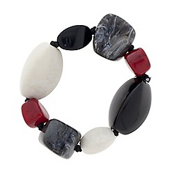 Betty Jackson.Black - Designer red and grey pebble bead stretch bracelet