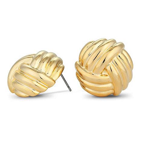 Principles by Ben de Lisi - Designer large gold knot stud earring