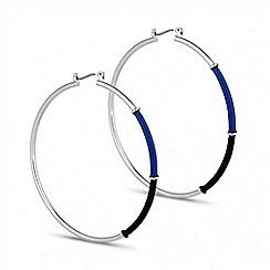 Principles by Ben de Lisi - Designer blue and jet enamel large hoop earring
