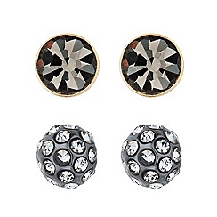 Principles by Ben de Lisi - Designer set of two grey crystal stud earrings