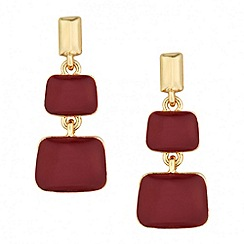 Principles by Ben de Lisi - Designer burgundy enamel double drop earring