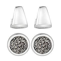 Principles by Ben de Lisi - Designer set of two crystal and sculptured stud earrings