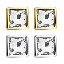 Principles by Ben de Lisi - Designer set of two crystal square stud earrings