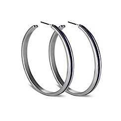 Principles by Ben de Lisi - Designer polished blue enamel hoop earring