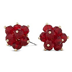 Principles by Ben de Lisi - Designer red bead 3d flower earring
