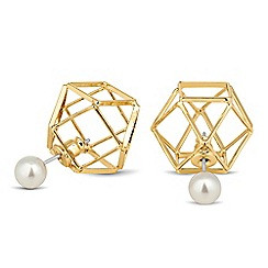 Principles by Ben de Lisi - Designer pearl gold cage front and back earring