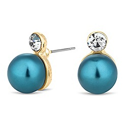 Principles by Ben de Lisi - Designer crystal top teal pearl earring
