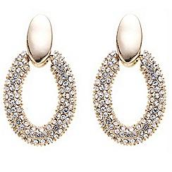 Principles by Ben de Lisi - Designer crystal embellished oval hoop earring