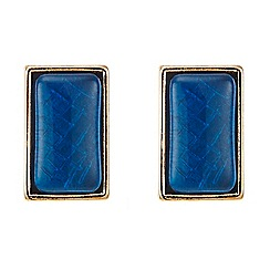 Principles by Ben de Lisi - Blue retangle stud earring